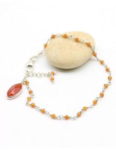 Bracelet argent et pierre orange - Mosaik bijoux indiens