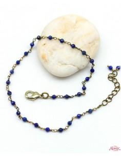 Chaîne de cheville dorée et pierre bleue - Mosaik bijoux indiens