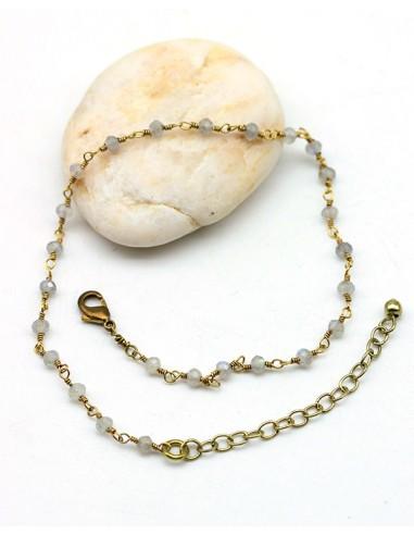 Chaîne de cheville fine laiton et pierre blanche - Mosaik bijoux indiens