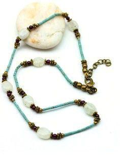 collier ethnique et pierres de lune - Mosaik bijoux indiens