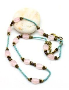 collier ethnique et quartz rose - Mosaik bijoux indiens