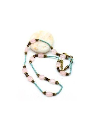 collier ethnique et quartz rose - Mosaik bijoux indiens