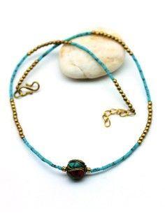 collier ethnique turquoise - Mosaik bijoux indiens