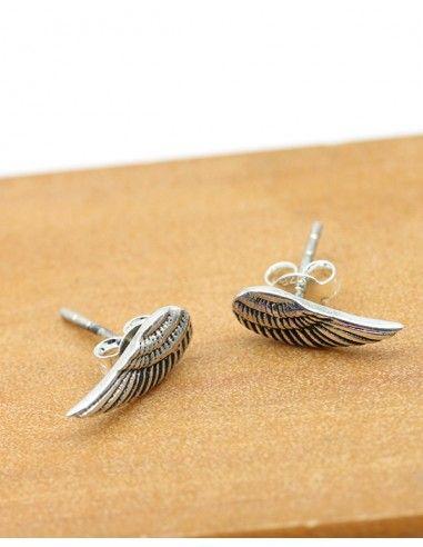 Puces d'oreilles ailes en argent - Mosaik bijoux indiens