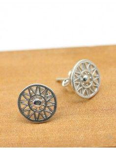 Puces d'oreilles soleil rond en argent - Mosaik bijoux indiens