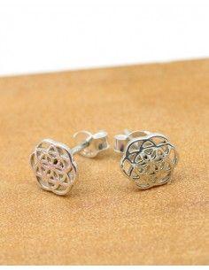 Puces d'oreilles argent graine de vie - Mosaik bijoux indiens
