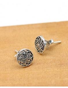Puces d'oreilles argent travaillé rondes-Mosaik bijoux indiens