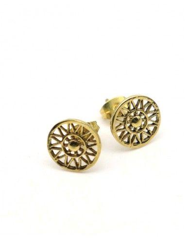 Puces d'oreilles dorées soleil - Mosaik bijoux indiens