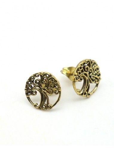 Puces d'oreilles arbre de vie dorées - Mosaik bijoux indiens