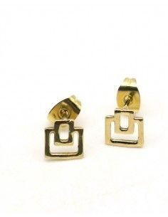 Clous d'oreilles carrés dorés - Mosaik bijoux indiens