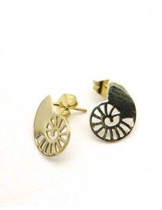 Puces d'oreilles dorées en laiton - Mosaik bijoux indiens