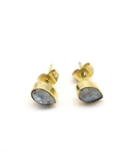 Clous d'oreilles dorés et labradorite - Mosaik bijoux indiens