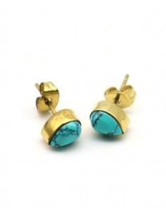 Clous d'oreilles dorés et turquoise - Mosaik bijoux indiens