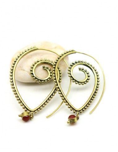 Boucles d'oreilles dorées et pierre orange - Mosaik bijoux indiens