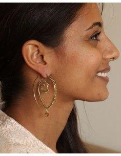 Boucles d'oreilles dorées et pierre orange - Mosaik bijoux indiens 2