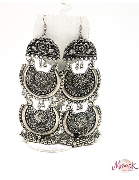Boucles d'oreilles ethniques argentées grelots - Mosaik bijoux indiens