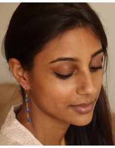 Boucles dorées et iolite- Mosaik bijoux indiens 2