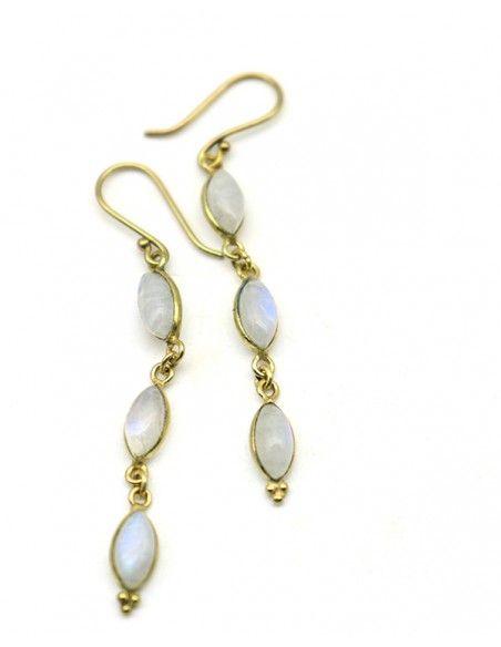 Boucles pendantes dorées pierre blanche - Mosaik bijoux indiens