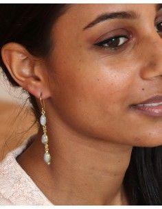 Boucles pendantes dorées pierre blanche - Mosaik bijoux indiens 2
