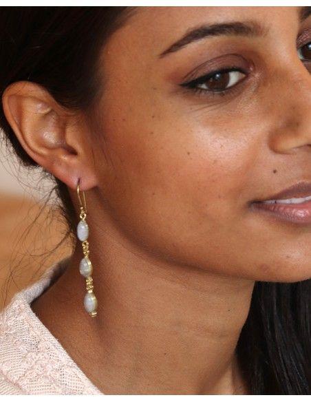 Boucle dorée pierre de lune - Mosaik bijoux indiens