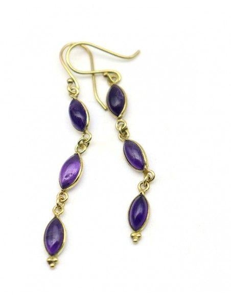Boucles pendantes dorées et violettes - Mosaik bijoux indiens