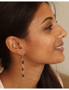 Boucles pendantes dorées et violettes - Mosaik bijoux indiens 2