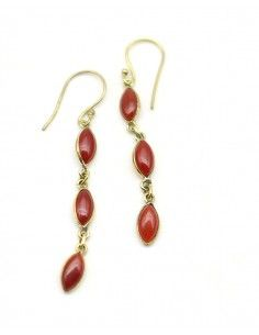 Boucles d'oreilles laiton pierre orange - Mosaik bijoux indiens