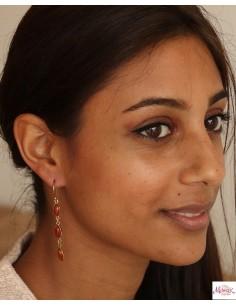 Boucles d'oreilles laiton pierre orange - Mosaik bijoux indiens 2
