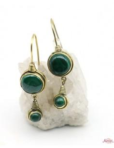 Boucles d'oreilles en malachite - Mosaik bijoux indiens