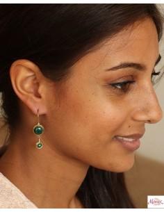 Boucles d'oreilles en malachite - Mosaik bijoux indiens 2