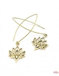 Boucles d'oreilles dorées lotus - Mosaik bijoux indiens