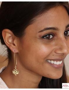 Boucles d'oreilles dorées lotus - Mosaik bijoux indiens 2