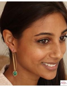 Boucle d'oreilles dorées malachite - Mosaik bijoux indiens 2