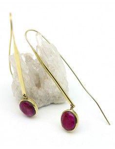 Boucles d'oreilles fines dorées et pierre rose - Mosaik bijoux indiens