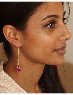 Boucles d'oreilles fines dorées et pierre rose - Mosaik bijoux indiens 2