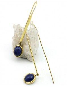 Boucles d'oreilles pendantes dorées et bleues - Mosaik bijoux indiens