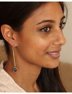 Boucles d'oreilles pendantes dorées et bleues - Mosaik bijoux indiens 2