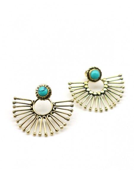 Boucles d'oreilles dorées et turquoise - Mosaik bijoux indiens