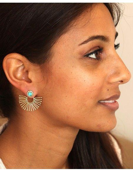 Clou d'oreille original laiton et turquoise - Mosaik bijoux indiens