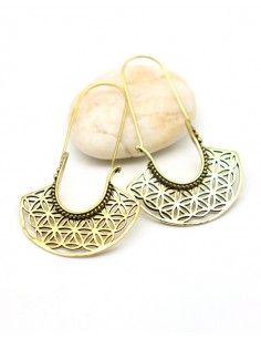 Boucle d'oreille fleur de vie dorées - Mosaik bijoux indiens