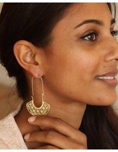 Boucle d'oreille fleur de vie dorées - Mosaik bijoux indiens 2