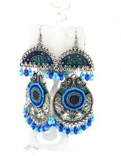 Boucles d'oreilles ethniques bleues grelots - Mosaik bijoux indiens