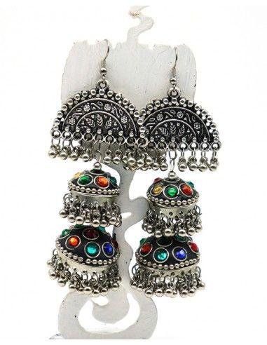 Grosses boucles d'oreilles indiennes à grelots - Mosaik bijoux indiens
