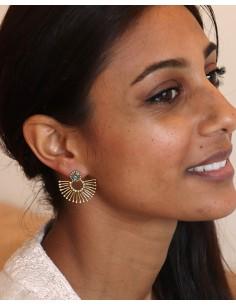 Clou d'oreille stylisé doré - Mosaik bijoux indiens 2