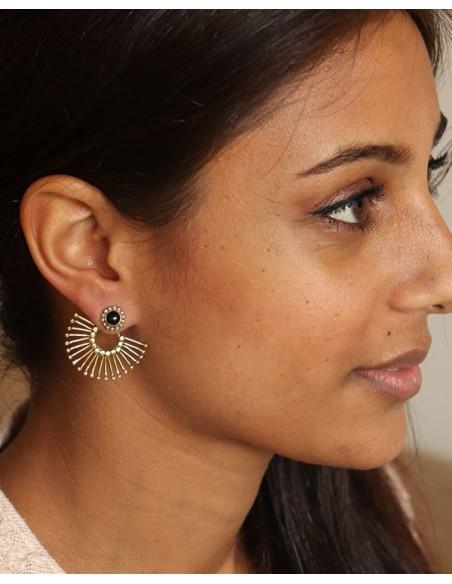 Clous d'oreilles laiton et pierre noire - Mosaik bijoux indiens