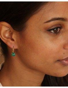 Boucles d'oreilles dorées pierre verte - Mosaik bijoux indiens 2