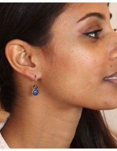 Boucles d'oreilles pierre bleues - Mosaik bijoux indiens 2