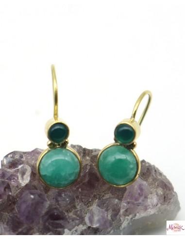 Boucles d'oreilles pierres verte dorée - Mosaik bijoux indiens