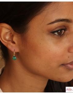 Boucles d'oreilles pierres verte dorée - Mosaik bijoux indiens 2