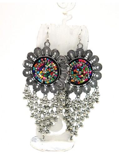 Boucles ethniques argentées grosses fleurs - Mosaik bijoux indiens